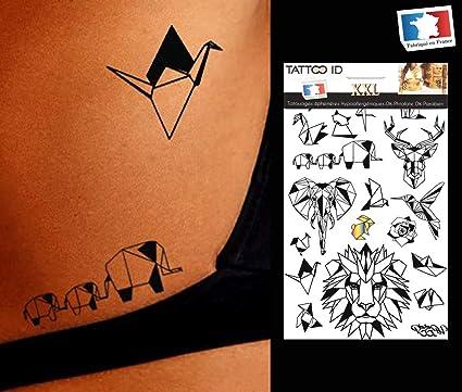 Tatouage Ephemere Temporaire Origami Animaux Tattoo Id Xxl