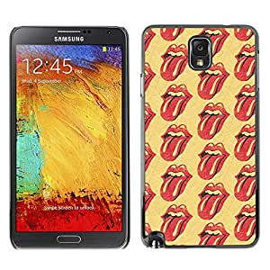Planetar® ( Rolling Music Band Yellow Lips Tongue ) SAMSUNG Galaxy Note 3 III / N9000 / N9005 Fundas Cover Cubre Hard Case Cover