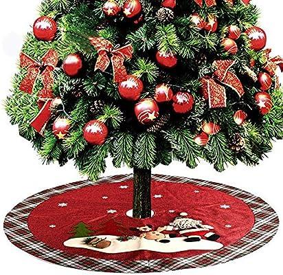 FLYWS Árbol de Navidad Falda 120Cm Santa Ciervos Navidad árbol ...