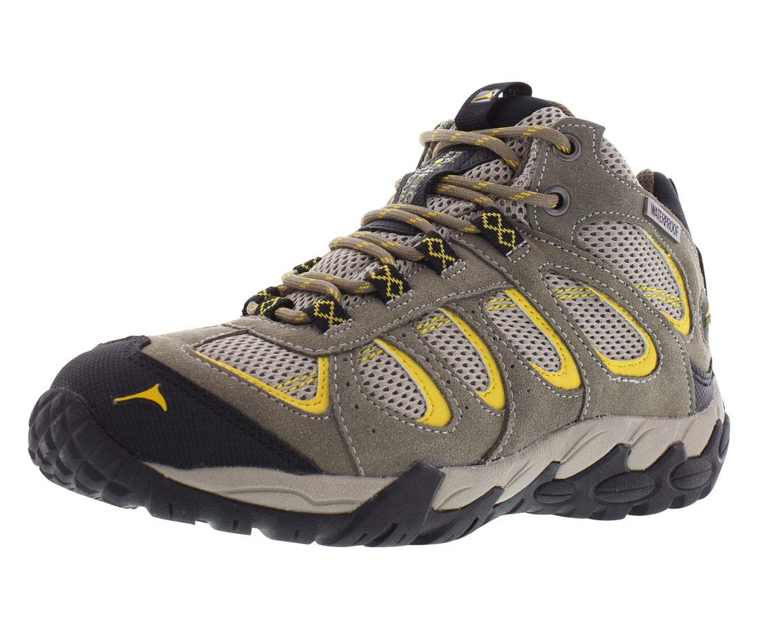 Pacific Mountain Moraine Women's Waterproof Hiking Backpacking Mid-Cut Grey/Black/YelMid Boots Size 6.5 by Pacific Mountain