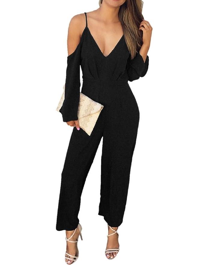 e30b15739147 Lrud Women V Neck Cold Shoulder Jumpsuits Wide Leg Long Pants Romper  Playsuit  Amazon.co.uk  Clothing