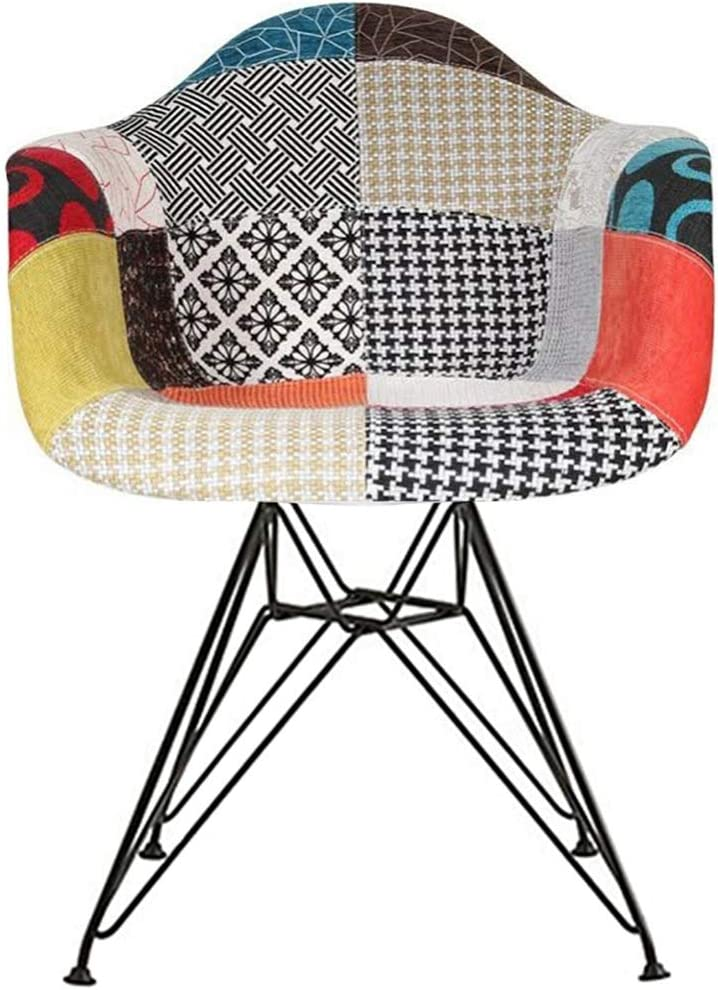 2xhome Shell Upholstered Dining Arm Chair With Black Metal Legs, Patchwork S Fabric