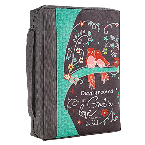 Christian Art Gifts Floral Bird Gray Poly Canvas Bible Cover for Women | Deeply Rooted In God s Love Ephesians 3:17 | Medium Zippered Case for Bible or Book w/Handle