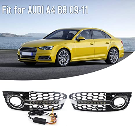 VISLONE Car Front Hood Kidney Grille Honeycomb with DRL Fog Light Grilles Daytime LED Strip Turn Signal L /& R Mesh Fit for Audi A4 B6 01-05 Honeycomb-Plating