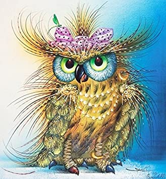 Yumeart 5D DIY Diamond Painting Cross Stitch Owl Animal Pattern Crystal Square Diamond Art Sets 30x30cm(12x12)