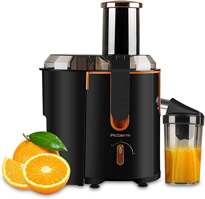 Juicer Extractor Picberm PB2312A Wide Mouth Juicer Machines, 3 Speed Centrifugal Juicer for Fruit and Vegetable, Powerful Juicer with Plus Pulse Function, 800W/20000RPM, Easy to Clean & BPA Free, Black