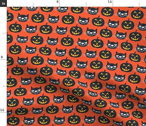 Pumpkin and Cat Fabric - Black Jack O Lantern Halloween Retro Kids Orange Fall Ed Miller Print on Fabric by The Yard - Sport Lycra for Swimwear Performance Leggings Apparel Fashion