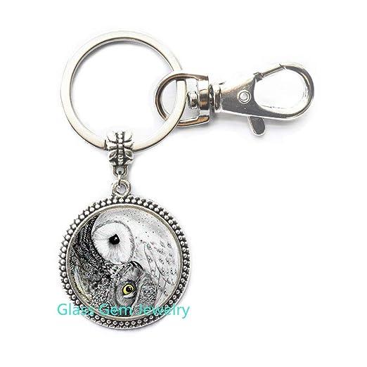 Llavero de búho yin yang, llavero Yin Yang, joyería de búho ...