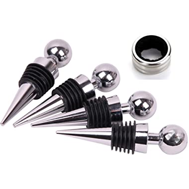 Bekith Zinc Alloy Bar Tools Ball Design Wine Bottle Stoppers, Drop Ring, Set of 5