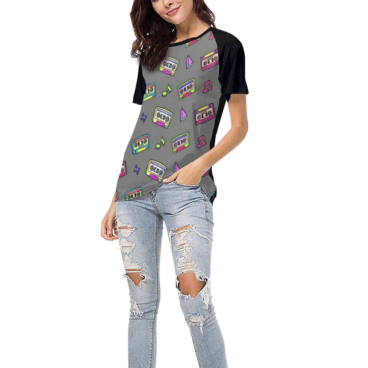 QWXZC Colored Cassette Womens Short Sleeves Baseball Tee Casual Raglan Shirt Baseball Raglan T-Shirt.Black.