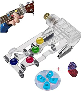 Guitar Beginner One-Key Chord Assisted Learning Tools Classical Chord Guitar Chord Practice Tool for Adults &ChildrenTrainer Beginners(with 4 Finger Protectors+2 Picks)