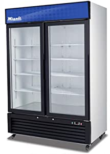 """Migali C-49RM Competitor Series Refrigerator Merchandiser, 54-1/4"""" W, 49.0 cu. ft. Capacity, 2 Hinged Glass Doors, White Sides/White Interior/Black Front"""