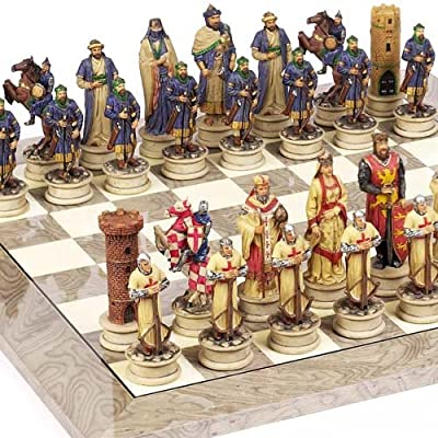 Crusade Chessmen & Greenwich Street Board From Spain Large, King: 4 1/2""