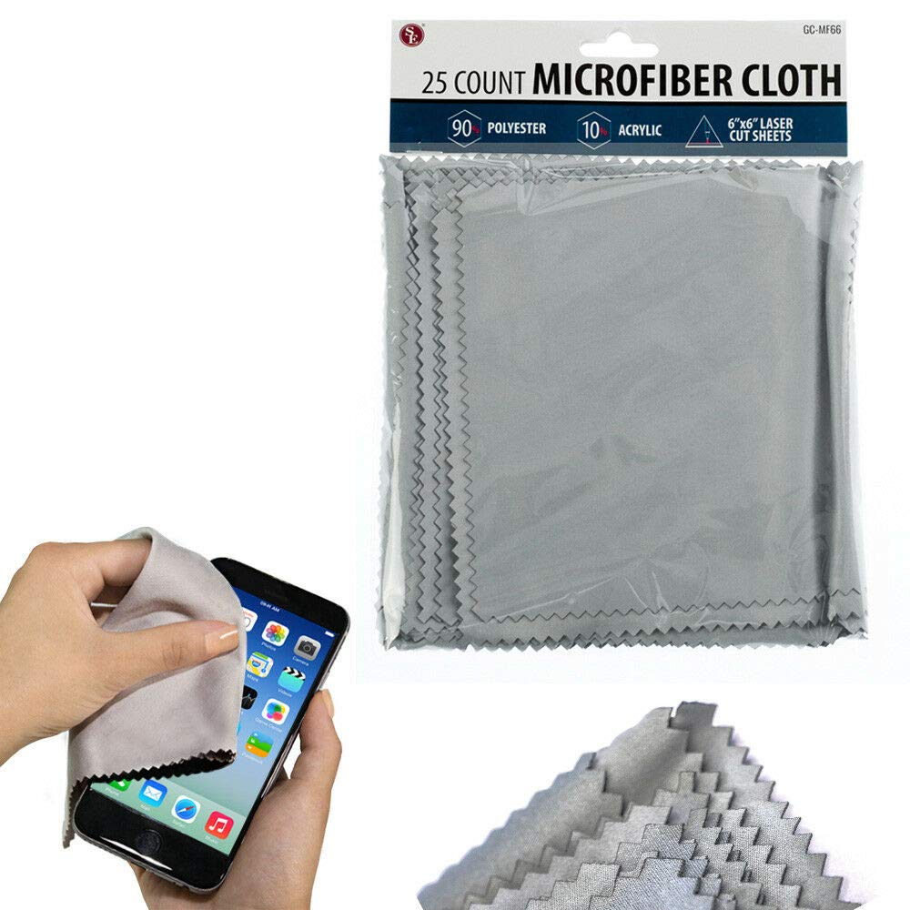 25 Pc Microfiber Cloths 6x6 Screen Cleaning Cell Phone Tablet Glasses Clean Lens by National Limited Shop