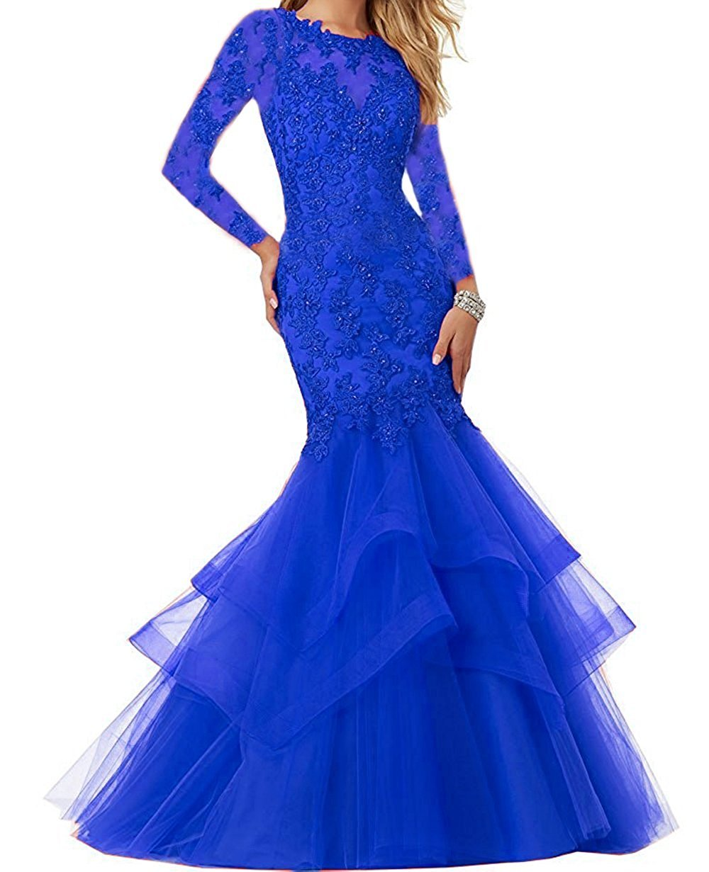 Bonnie Beaded Lace Embroidered Prom Dresses 2018 Long Sexy Mermaid Formal Ball Gown With Long Sleeves BS014