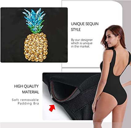 QueenDream Unique One Piece Bathing Suit Glitter Pineapple Bathing Suit for Women