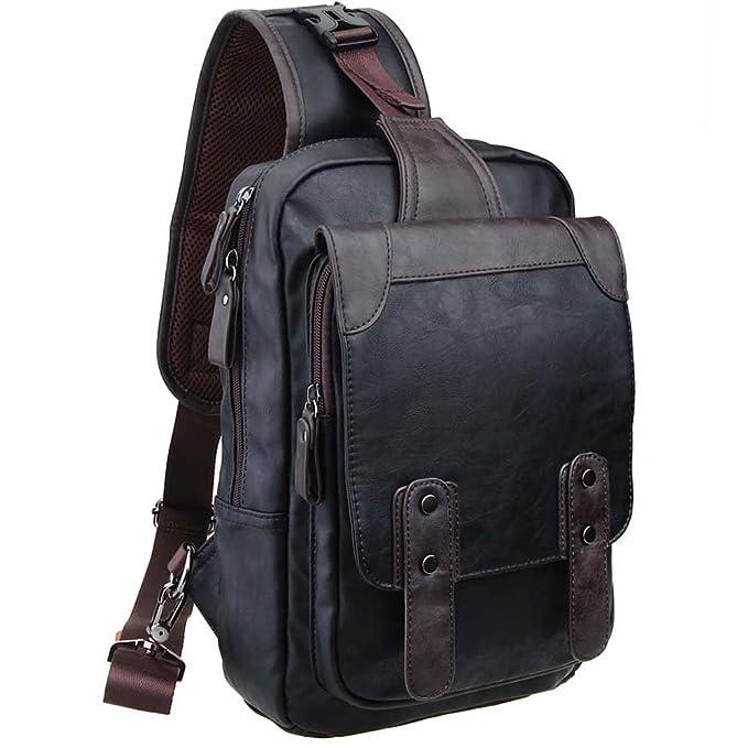 Zebella Men's Letaher Unbalance Chest Pack Multipurpose Backpack Crossbody Shoulder Bag Travel Sling Bag