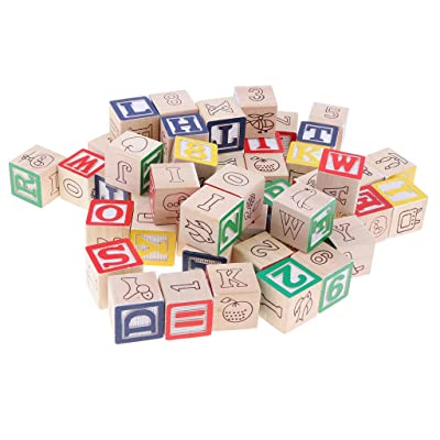 Wooden ABC Blocks Building Games | 50 PCS Alphabet Letters/Numbers Block Cubes Stacking Set | Montessori Educational Toys for Kids Toddlers: Toys & Games