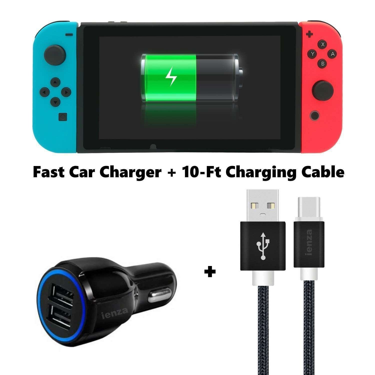 ienza Nintendo Switch Car Charger Kit - Long 10-FT USB Type C to A Charger Cable Cord with Two-Port Fast Car Charger