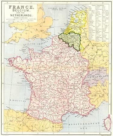 Amazoncom FRANCE Belgium Netherlands c1885 old map