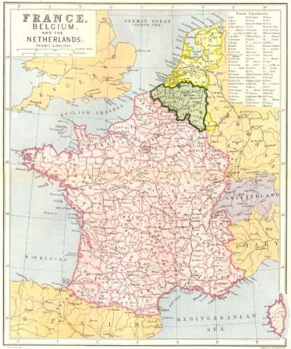 Map Of France Belgium.Amazon Com France Belgium Netherlands C1885 Old Map