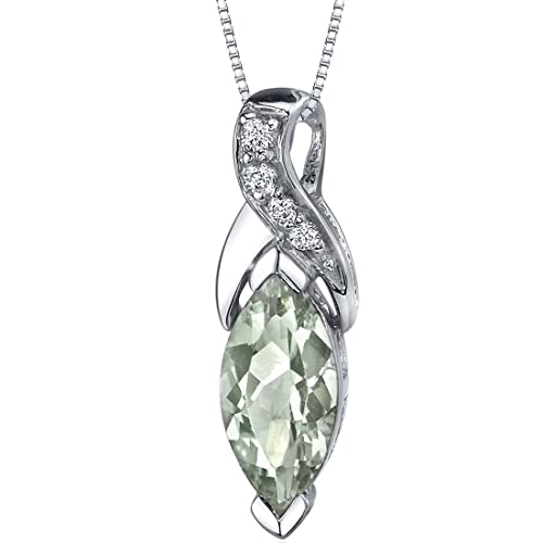 Green Amethyst Pendant Necklace Sterling Silver Marquise Shape 1.50 Carats