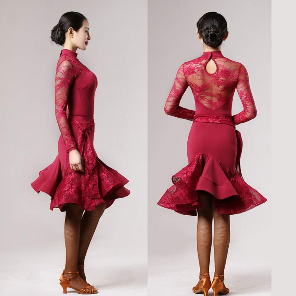 Wangmei Professionel Erwachsene Latin Dance Übungskleidung Übungskleidung Übungskleidung eingestellt Spitzennähte Latin Dance Performance Kleider Cha Cha Zumba Trikotanzug-Rock 2 Stück B07QH1Q4M2 Bekleidung Sonderaktionen zum Jahresende d39f79