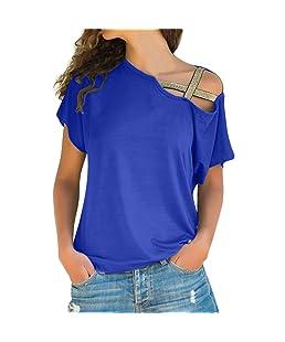 PANPANY Donna Donne Casuale Estate Maniche Corte Camicetta Girocollo Ragazze Bluse Camicie Cotone Stampe T-Shirt