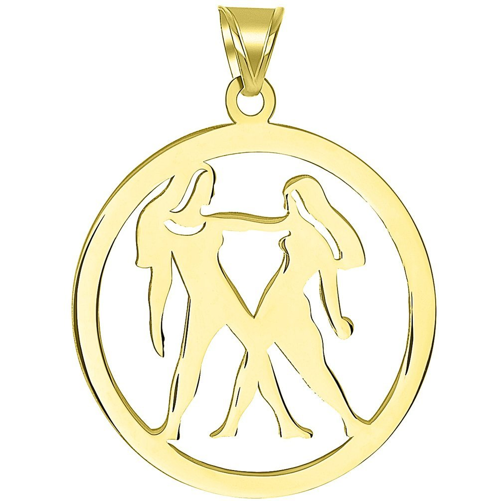 Solid 14k Yellow Gold Round Gemini Twins Zodiac Sign Cut-Out Disc Pendant