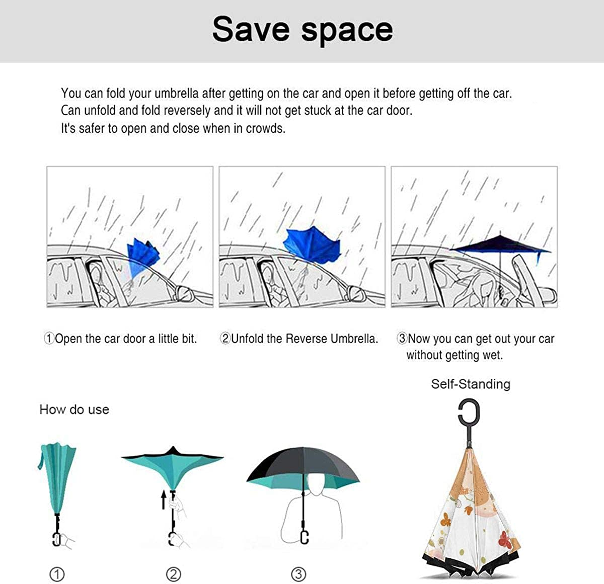 Seamless Pattern A Cute Family Rats Dad Mom Reverse Umbrella Double Layer Inverted Umbrellas For Car Rain Outdoor With C-Shaped Handle Customized