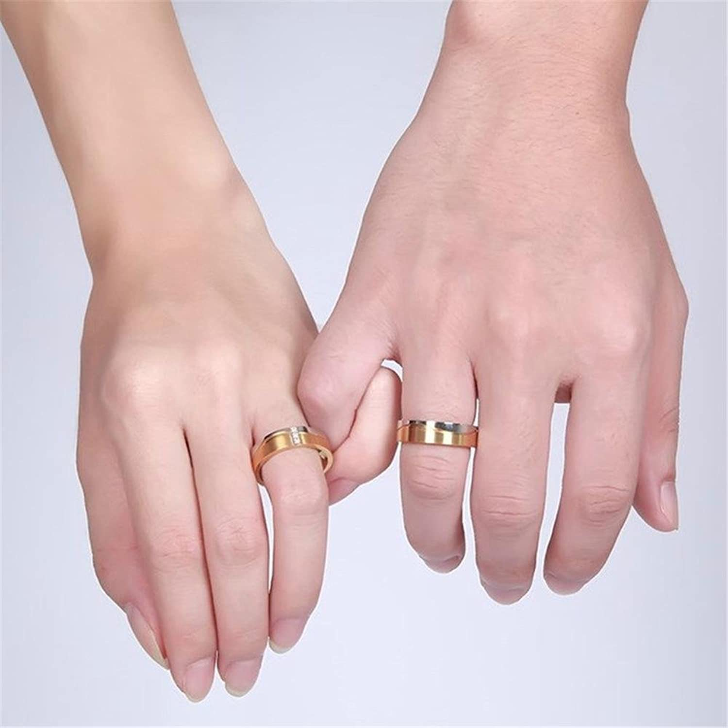 Amazon.com: Wedding Ring Couples Trendy Gold Plated CZ Promise ...