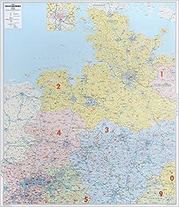 Bacher Postleitzahlenkarte Deutschland Nord West 1 350 000