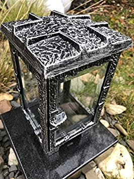 Grablampe mit Sockel Moll Grablaterne inklusive Granitsockel Friedhoflampe Friedhofslaterne 13cm x 12,5cm x 22cm