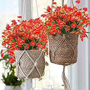 YISNUO Artificial Fake Flowers, Faux Anthurium Plants Plastic Shrubs Bushes Greenery Indoor Outside Hanging Planter Home Decorations(Red) 4