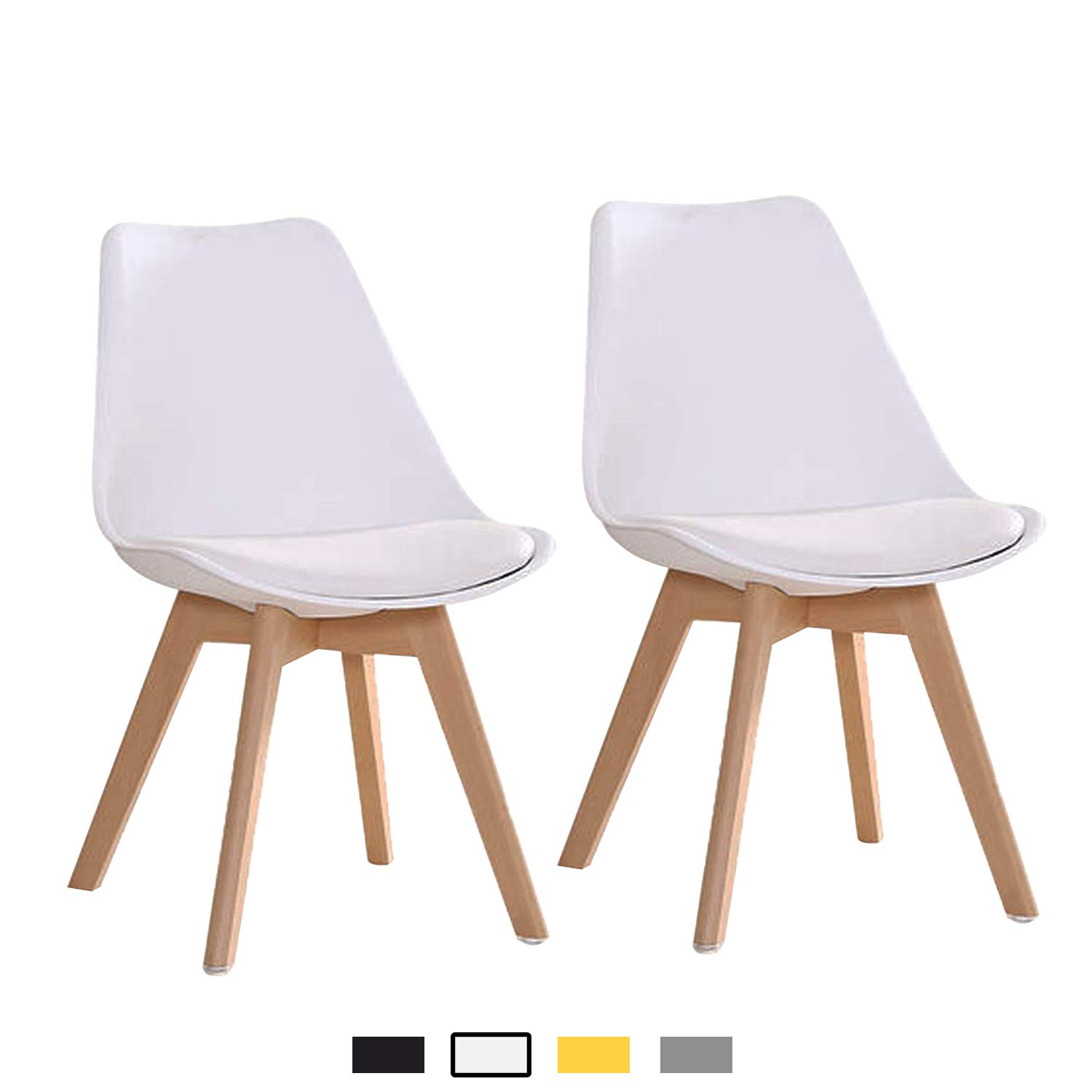 YEEFY Mid Century Modern DSW Dining Chair Upholstered Tulip Chair for Living Room, Dining Room, Set of 2, White
