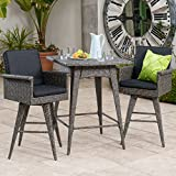 Venice 3 Piece Mixed Black Outdoor Wicker Dining Bar Set