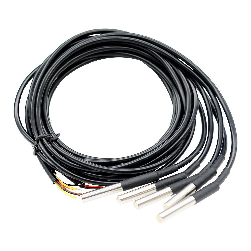 avec sonde en acier inoxydable pour Arduino Raspberry Pi diymore 5PCS DS18B20 Capteurs de temp/érature /étanches Capteur Capteur de temp/érature num/érique C/âble de r/ésistance thermique 3M 118
