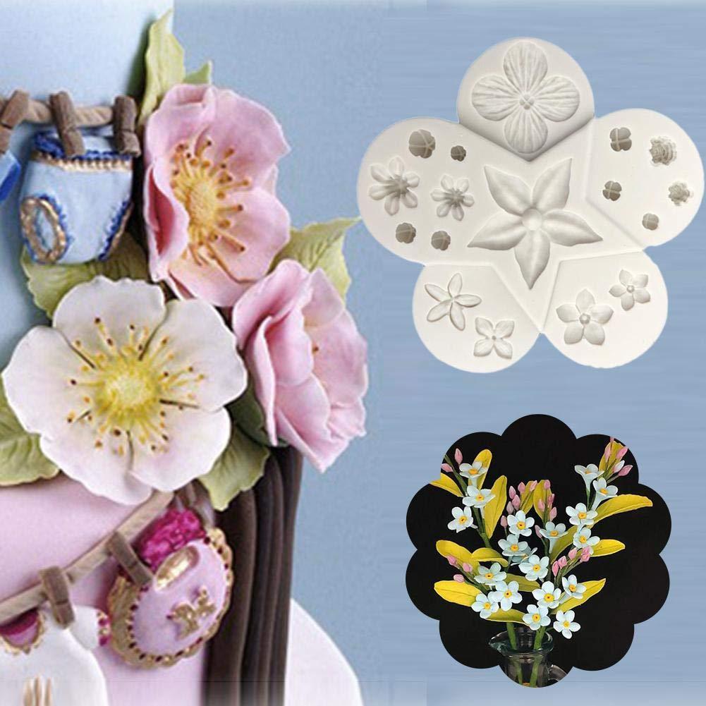 cuffslee Forma de Molde de Flor de Silicona Fondant Cupcake DIY Arcilla Polim/érica Herramienta de Moldeo de Epoxi para Pastel de Chocolate Magdalena