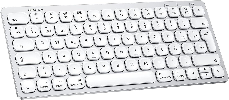 Teclado Inalambrico para Mac OS (Macbook, Mac Mini, iMac, Mac Pro), Teclado Recargable, Teclado Bluetooth para Mac OS, OMOTON,