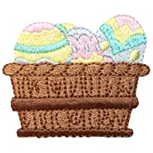 ID #3332 Easter Eggs Basket Spring Holiday Embroidered Iron On Applique Patch