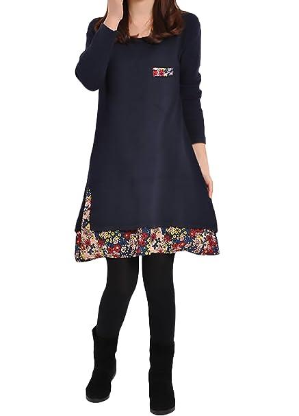 Vestidos Mujer Manga Larga Cuello Redondo Vintage Splicing Florales Impresión Elegantes Casual Otoño Invierno Fiesta Cortos