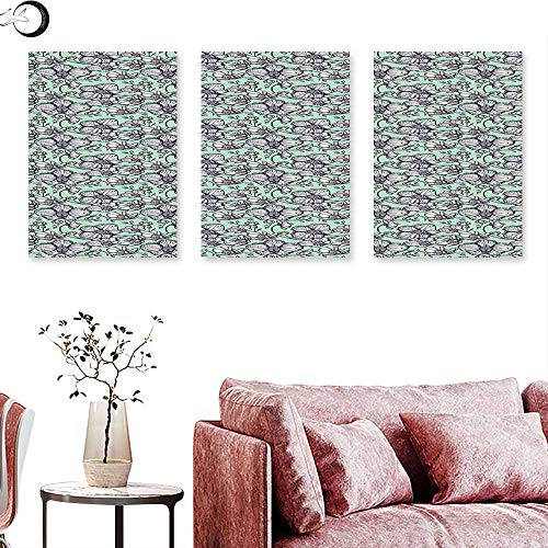 J Chief Sky Floral Wall hangings Wild Orchids Exotic Spring Blooms Feminine Themed Hand Drawn Plants Triptych Wall Art Mint Green Black White Triptych Art Canvas W 12