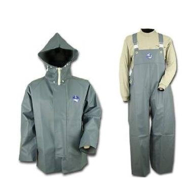 【上下セット販売】水産マリンレリー  上着パーカー  胸付きズボン グレー 5L 漁師専用レインスーツ B00PENQE80