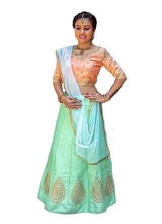 1d99221b6eeb Magaraa Women s Pastel Green Color Semi Stiched Designer Kids Lehenga Choli  with Duppatta  Amazon.in  Clothing   Accessories