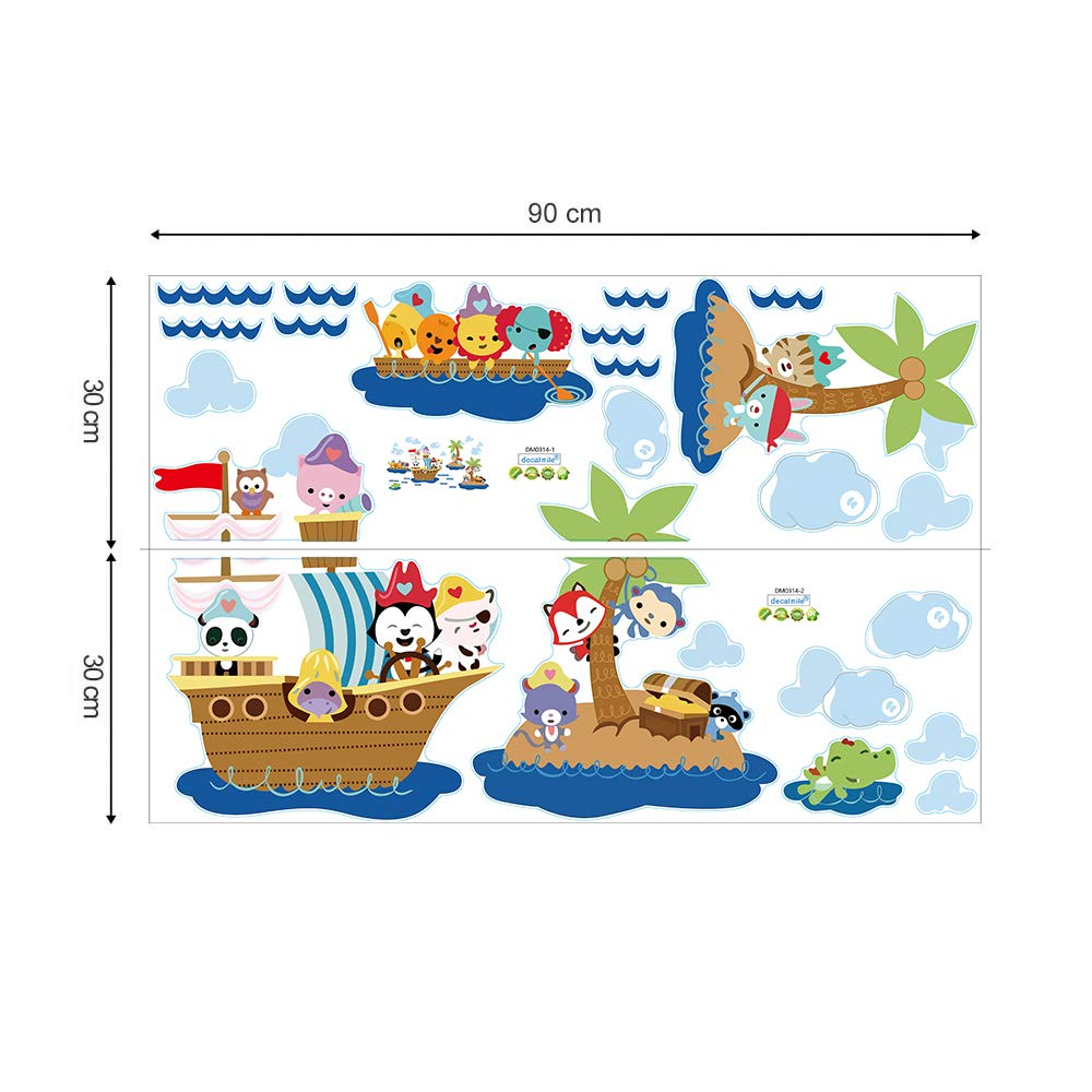 decalmile Pirate Ship and Treasure Island Wall Decals Vinyl Removable Kids Room Wall Stickers Nursery Bedroom Decoration