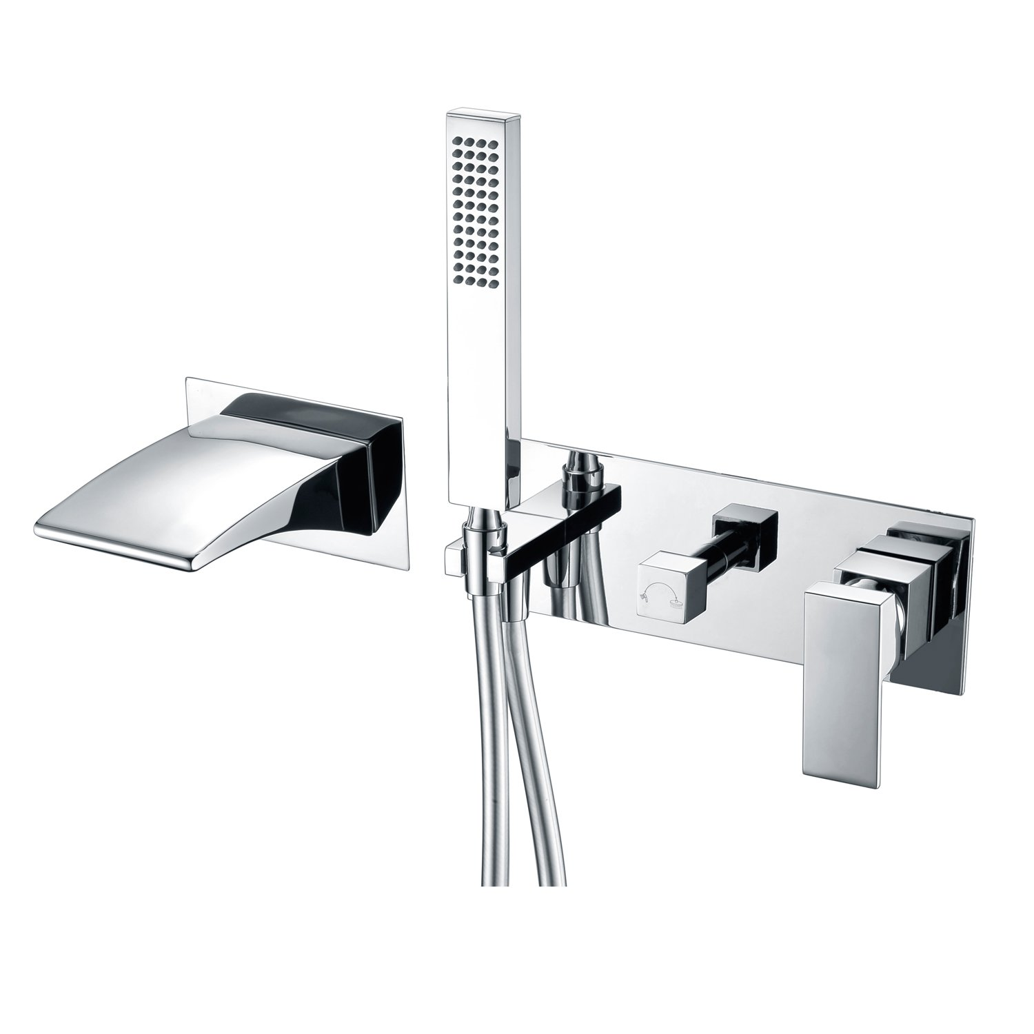 Sumerain Wall Mounted Bath Taps with Shower Mixer,Waterfall Spout tub filler with Handset Kit