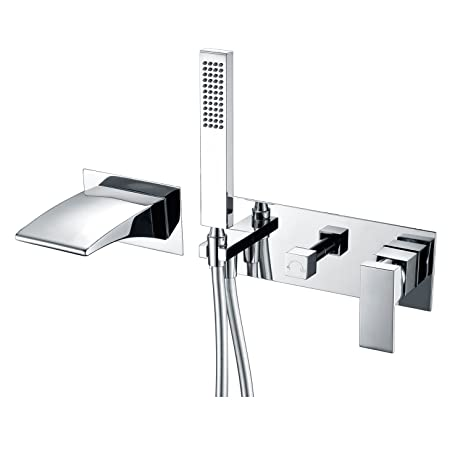 SUMERAIN Wall Mount Tub Faucets, Waterfall Tub Filler Spout with ...