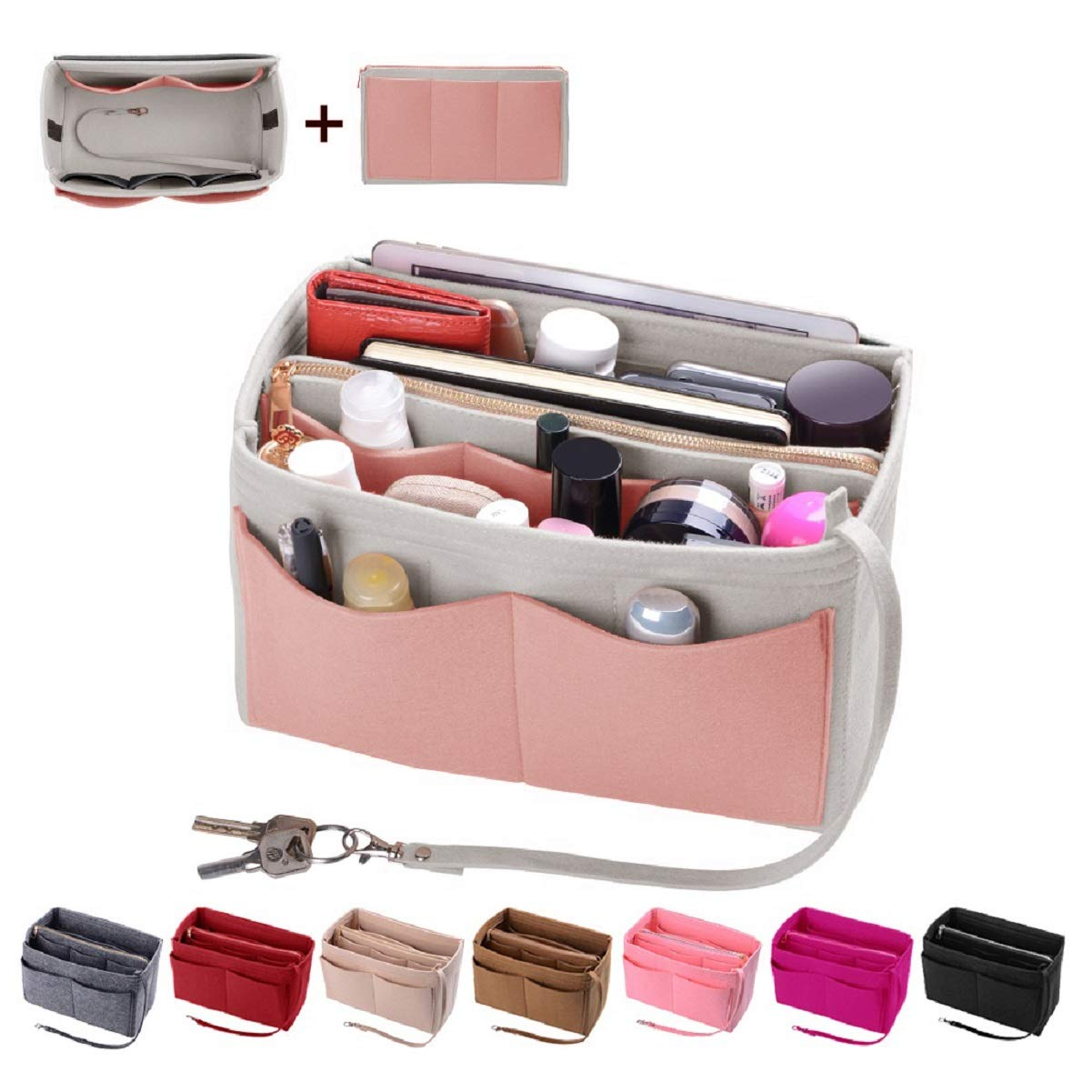 Purse Organizer Insert, Felt Bag organizer with zipper, Handbag & Tote Shaper, Fit LV Speedy, Neverfull, Longchamp, Tote (X-Large, White,Brush Pink and Grey)