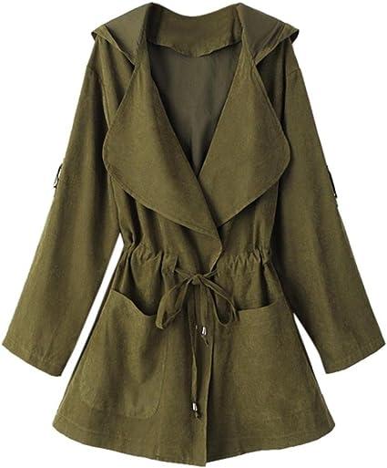 Trench coat à capuche Femmes, Toamen Veste Parka coupe vent Poches Cardigan Manteau mince Manche longue Mode Décontractée (XL, Vert)