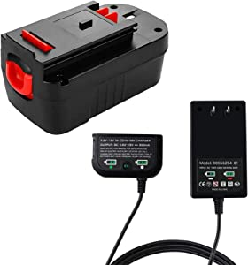 1 Pack HPB18 Battery + 90556254-01 Charger Replacement for Black and Decker 18V, 3.8Ah Battery for HPB18-OPE HPB18 A1718 FS18FL FSB18 Firestorm, Fast Charger for B & D 9.6V-18V Slide Style Batteries